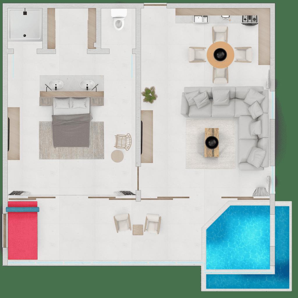 One Bedroom Penthouse Suite Floor Plan_