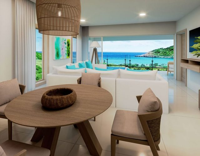 One bedroom penthouse suite with pool kitchen view